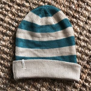 Blue and tan striped beanie